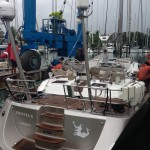 PROTEUS, an Oyster 655 being hauled at Vuda Marina for antifoul by Baobab Marine