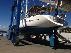 SATIKA, an Oyster 575 being re-launched at Port Denarau Marina after an engine service and antifoul by Baobab Marine
