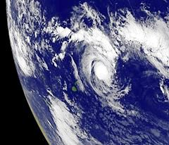 """""""NOAA's GOES-15 satellite captured this visible image of newborn Tropical Storm Evan in the South Pacific on Dec. 12, 2012 at 1500 UTC"""""""